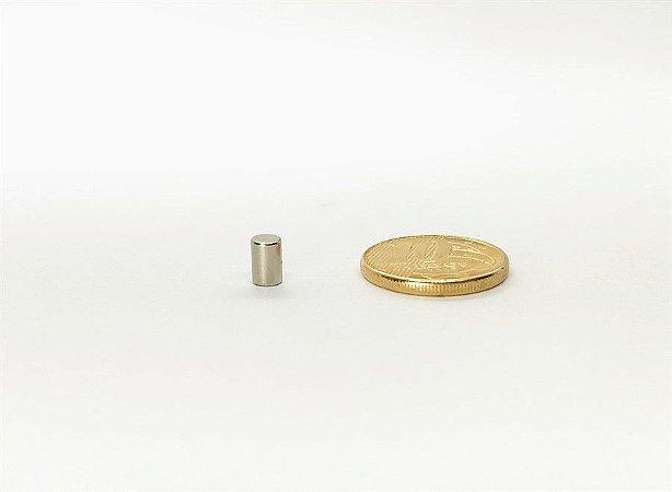 Ímã Neodímio N35 Cilindro 4x6 mm