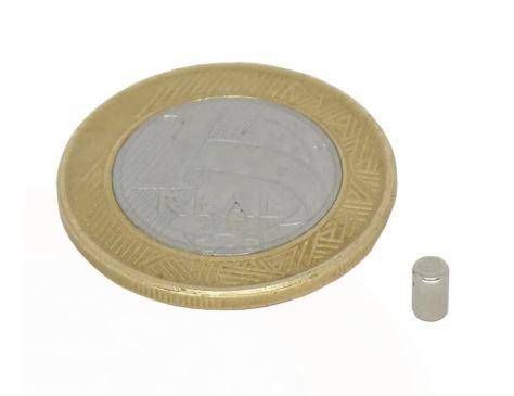 Ímã Neodímio N35 Cilindro 3x4 mm