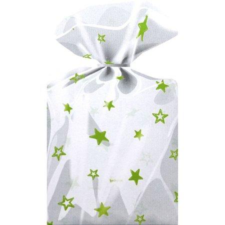 Saco Decorado Estrelas Verde Limão - Medidas Variadas