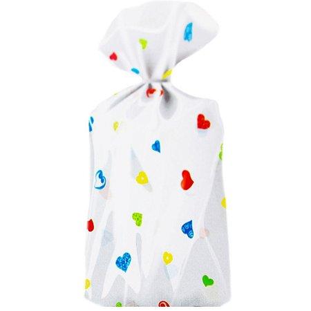 Saco Decorado Corações Coloridos Plastico PP - Medidas Variadas