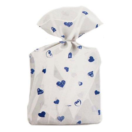 Saco Decorado Coração Azul Escuro Plastico PP - Medidas Variadas