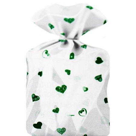 Saco Decorado Coração Verde Escuro Plastico PP - Medidas Variadas