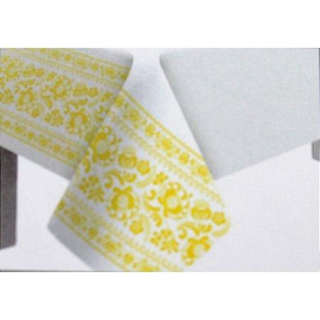 Toalha de Mesa Plástico Borda Decorada Amarelo - 10 un - Medidas Variadas