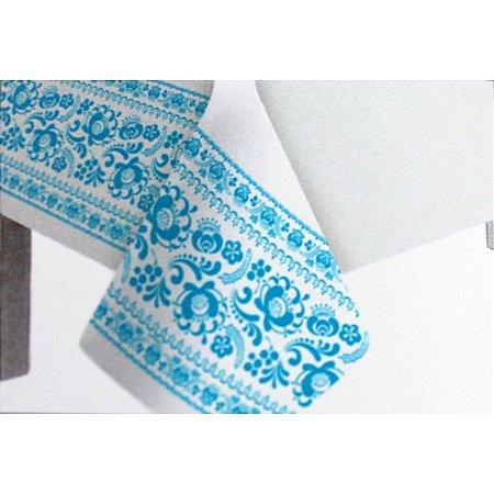 Toalha de Mesa Plástico Borda Decorada Azul Claro - 10 un - Medidas Variadas