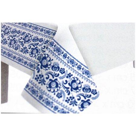 Toalha de Mesa Plástico Borda Decorada Azul Escuro - 10 un - Medidas Variadas