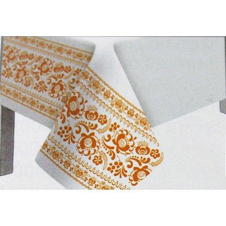Toalha de Mesa Plástico Borda Decorada Laranja - 10 un - Medidas Variadas