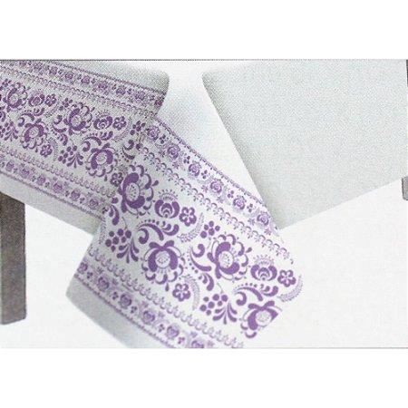Toalha de Mesa Plástico Borda Decorada Lilás - 10 un - Medidas Variadas