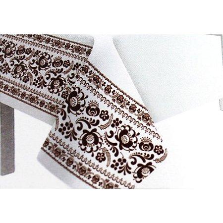 Toalha de Mesa Plástico Borda Decorada Marrom - 10 un - Medidas Variadas