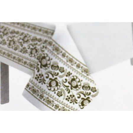 Toalha de Mesa Plástico Borda Decorada Ouro - 10 un - Medidas Variadas