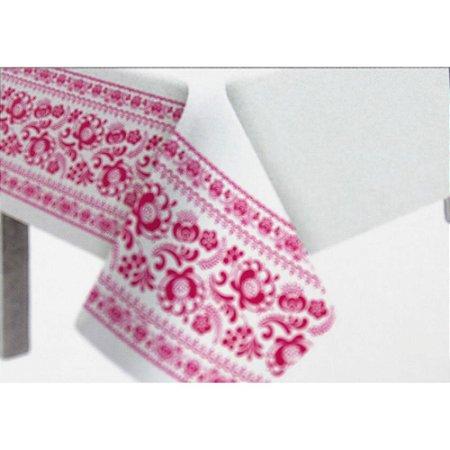 Toalha de Mesa Plástico Borda Decorada Pink - 10 un - Medidas Variadas