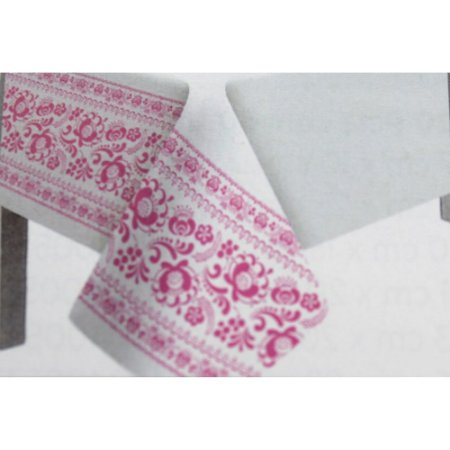 Toalha de Mesa Plástico Borda Decorada Rosa - 10 un - Medidas Variadas