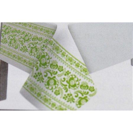 Toalha de Mesa Plástico Borda Decorada Verde Limão- 10 unidades - Medidas Variadas