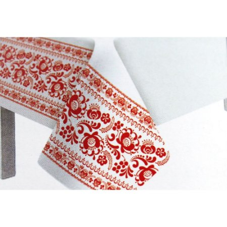 Toalha de Mesa Plástico Borda Decorada Vermelho - 10 un - Medidas Variadas