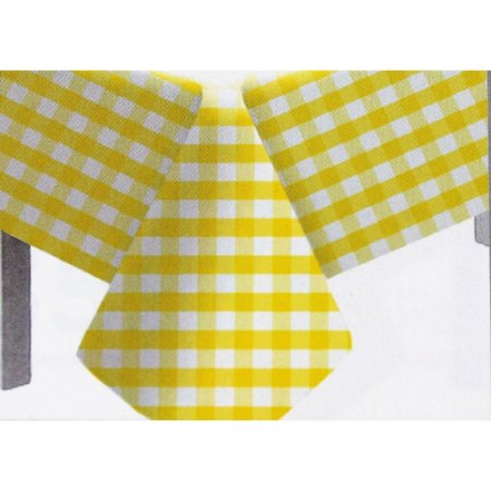 Toalha de Mesa Plástico Xadrez Amarelo - 10 unidades - Medidas Variadas