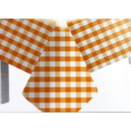 Toalha de Mesa Plástico Xadrez Laranja - 10 unidades - Medidas Variadas