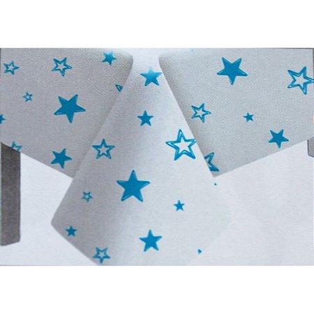 Toalha de Mesa Plástico Estrela Azul Claro - 10 un - Medidas Variadas