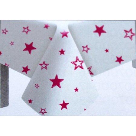 Toalha de Mesa Plástico Estrela Pink - 10 un - Medidas Variadas