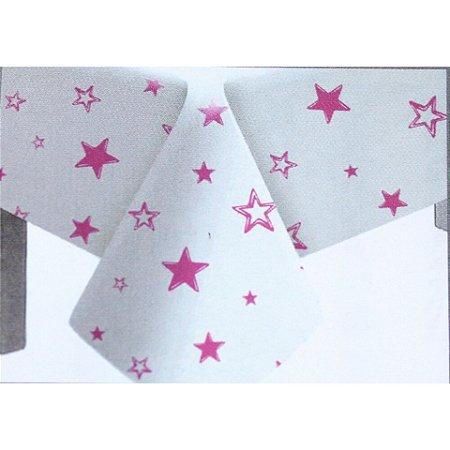 Toalha de Mesa Plástico Estrela Rosa - 10 un - Medidas Variadas