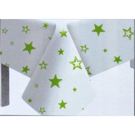 Toalha de Mesa Plástico Estrela Verde Limão - 10 un - Medidas Variadas