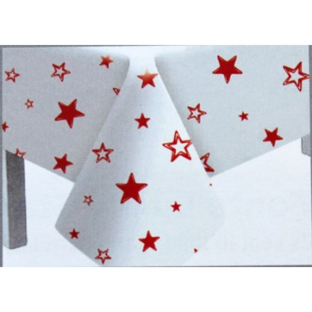 Toalha de Mesa Plástico Estrela Vermelha - 10 un - Medidas Variadas