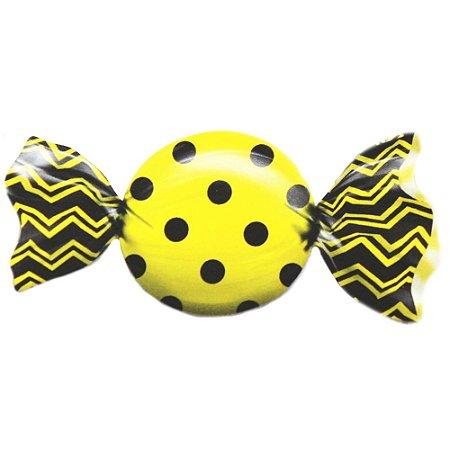 Embalagem para Trufas e bombons 15x16cm Poá Preto e Amarelo