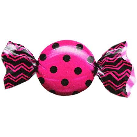 Embalagem para Trufas e Bombons 15x16cm Poá Preto e Pink