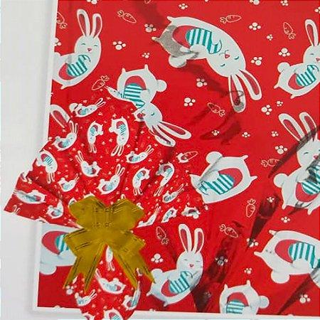 Embalagem Folha Poli Metalizado Páscoa 69x89 Cenourinha Vermelho - 25un