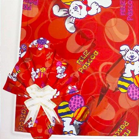 Embalagem Folha Poli Metalizado Páscoa 69x89 Coelhos Pelúcia Vermelho - 25un