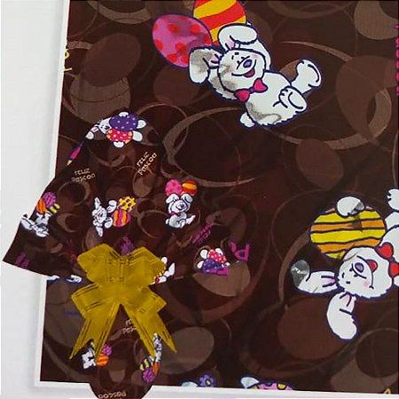 Embalagem Folha Poli Metalizado Páscoa 69x89 Coelhos Pelúcia Marrom - 25un