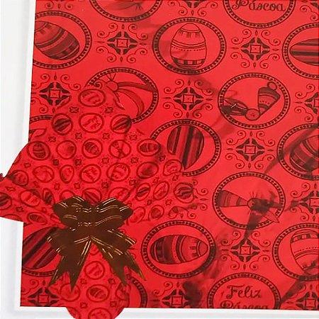 Embalagem Folha Poli Metalizado Páscoa 69x89 Deluxe Vermelho - 25un