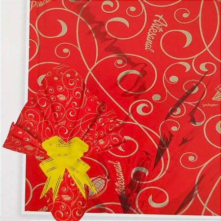 Embalagem Folha Poli Metalizado Páscoa 69x89 Artesanal Vermelho - 25un