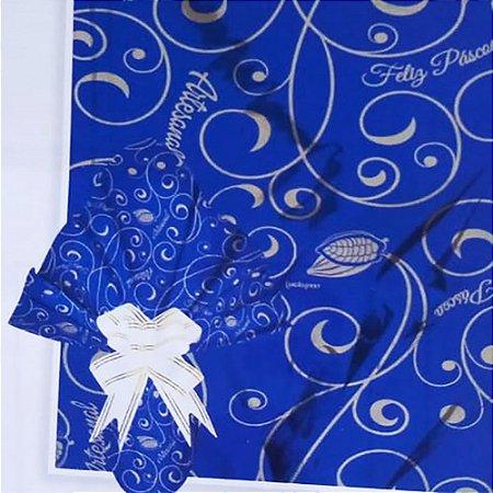Embalagem Folha Poli Metalizado Páscoa 69x89 Páscoa Artesanal Azul - 25un