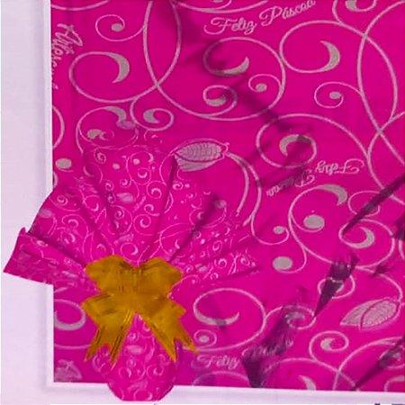 Embalagem Folha Poli Metalizado Páscoa 69x89 Páscoa Artesanal Pink - 25un