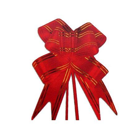 Laço Pronto Borboleta Fio Dourado Vermelho - 10 unidades - Medidas Variadas