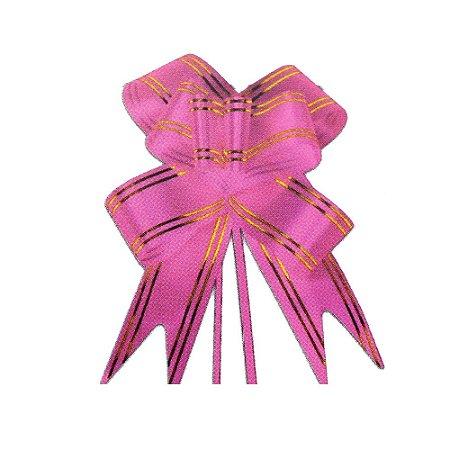Laço Pronto Borboleta Fio Dourado Rosa Médio - 10 unidades - Medidas Variadas