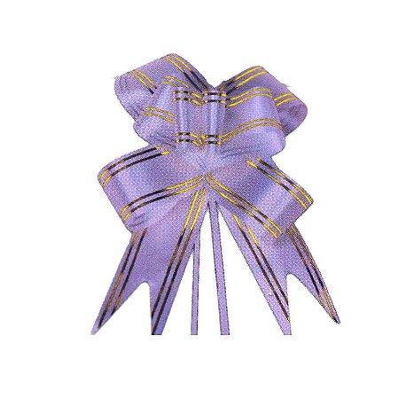 Laço Pronto Borboleta Fio Dourado Lilás - 10 unidades - Medidas Variadas