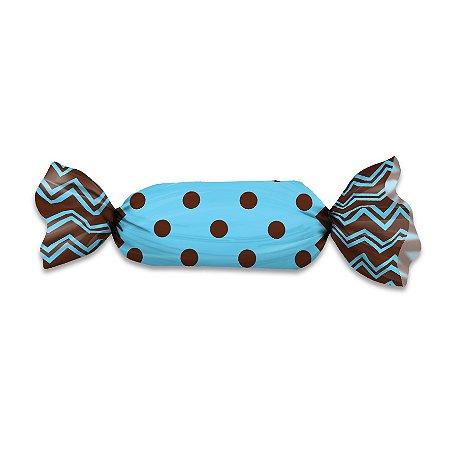 Embalagem para Trufas e Bombons 20x18 Poa Marrom e Azul