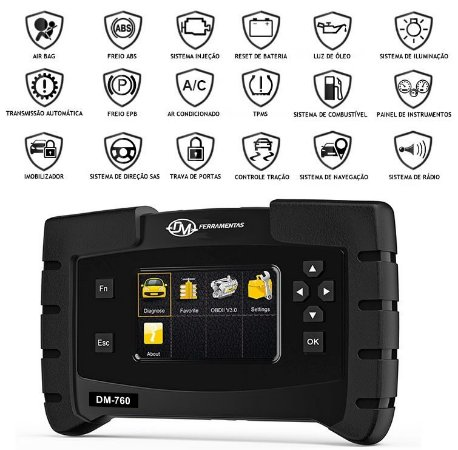 Scanner automotivo profissional - ajuste flex, ABS, Air bag, luz de óleo em português