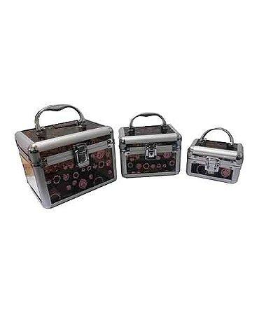 Kit com 3 Maletas Marron HC82336