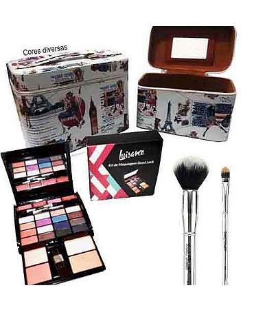 Kit com 2 Frasqueiras + 2 Pincéis (Pó e Sombra) Macrilan + 1 Kit de Maquiagem Goog Luck Luisance