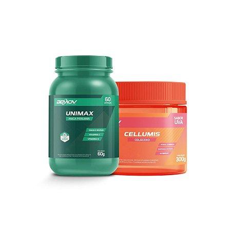 Kit com Unimax 60g 60 Cápsulas + Cellumis 300g Sabor Uva