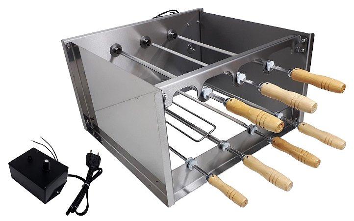 Churrasqueira Rotativa Di Cozin a Carvão CRD-007 - 07 Espetos Rot.  - Bivolt - Com Variador Velocidade