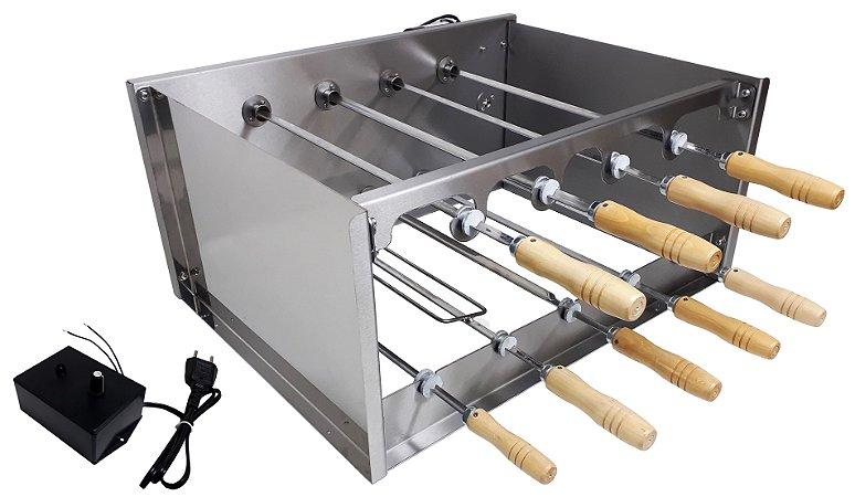 Churrasqueira Rotativa Di Cozin a Carvão CRD-009 - 09 Espetos Rot.  - Bivolt - Com Variador Velocidade