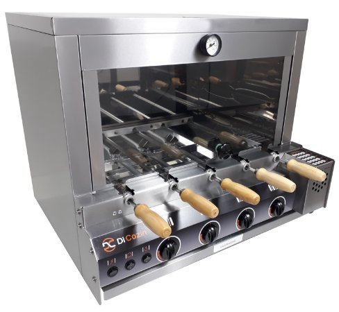 Forno Gourmet Multifuncional a Gás Acend. Aut. 5 Espetos Rot. - de Bancada - Kit Pizza