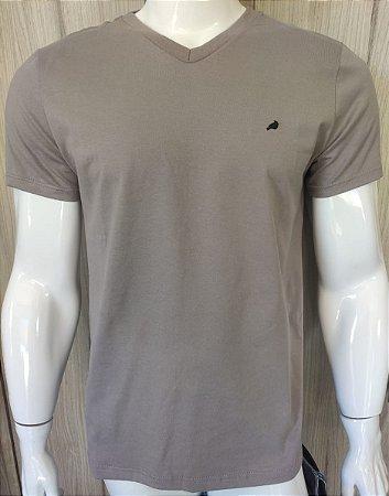 Camiseta Cinza Claro com Gola em V Enfim