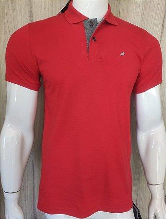Camisa Polo Vermelha com Gola Cinza Enfim