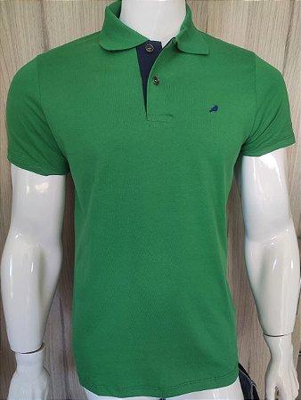 Camisa Polo Verde com Gola Azul Enfim