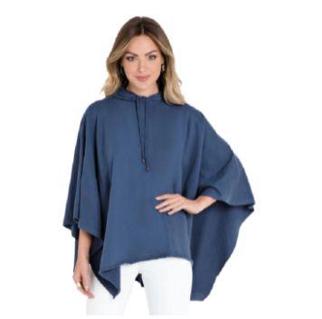 Poncho roupa de frio Azul c/ capuz inverno feminino - Tam. Unico