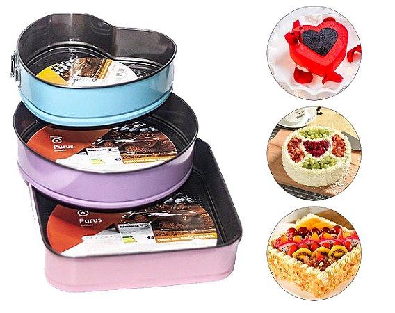Formas assadeiras de bolo diversificadas e coloridas