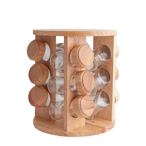 Jogo Porta Temperos 12 Potes Em Bambu Redondo